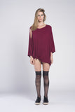 PONCHO OPEN SHOULDER RIB DRESS