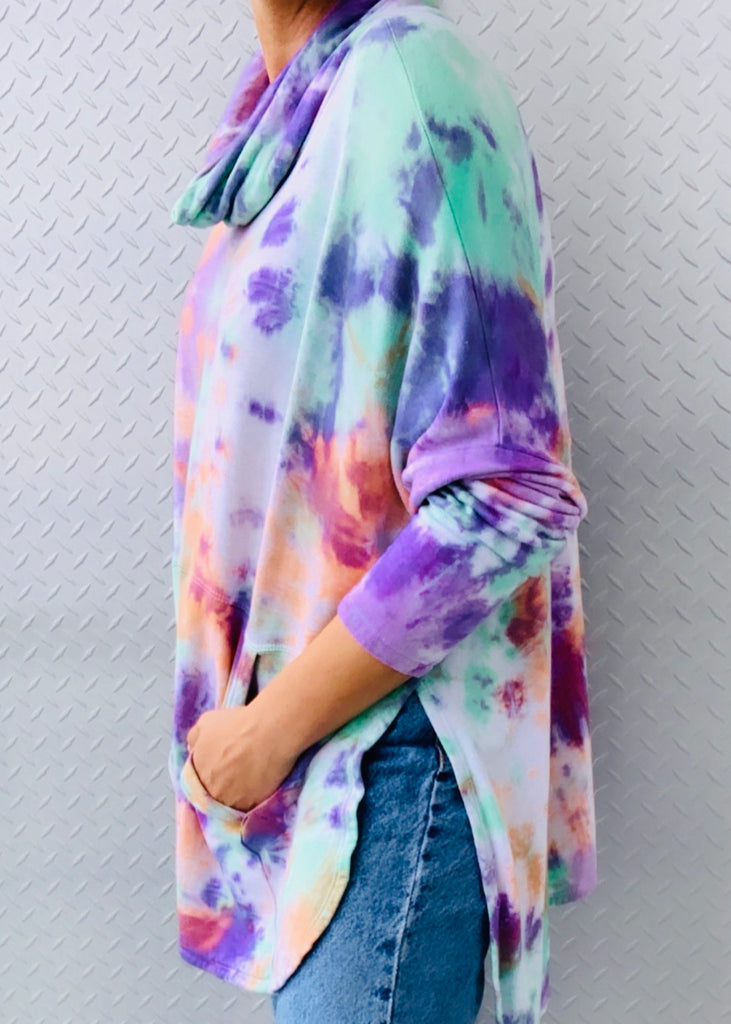 SHELLY WAFFLE fleece tiedye sweater