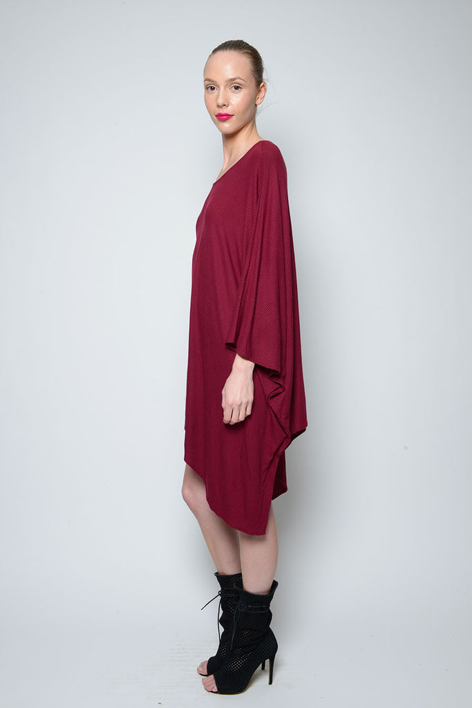 PONCHO DOUBLE EDGE SCOOP NECK DRESS