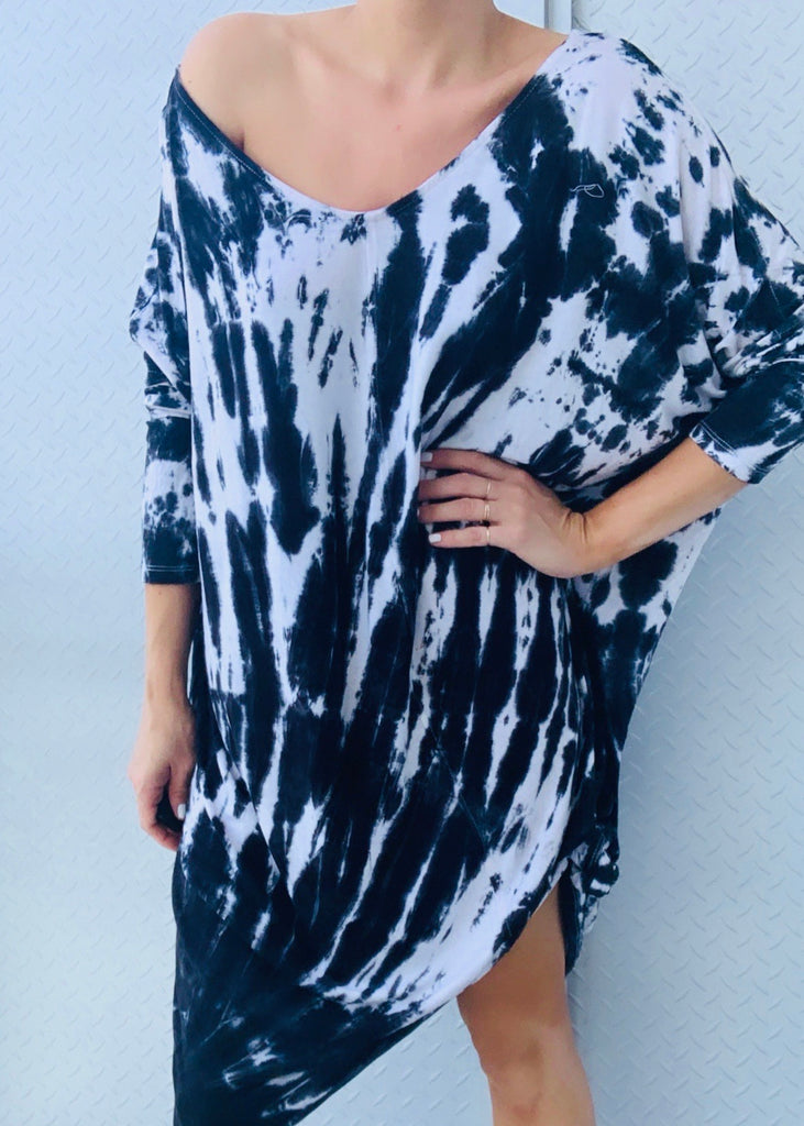 LISA MINI DRESS black tiedye