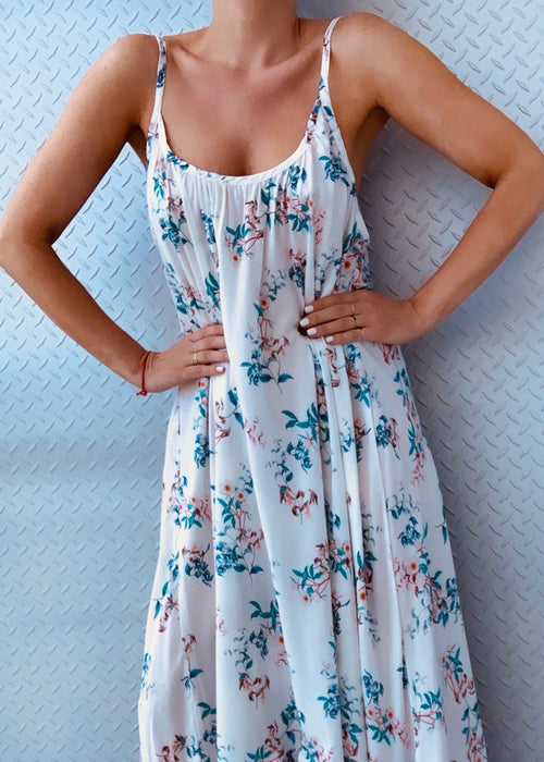 PERUGIA 3/4 DRESS teal flowers