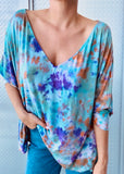 APPLE 3/4 SLV VNECK TOP tiedye