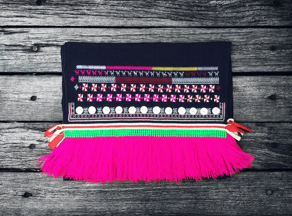 Dao Tien Table / Bed Runner in Indigo (Green Beading and Pink Fringing)