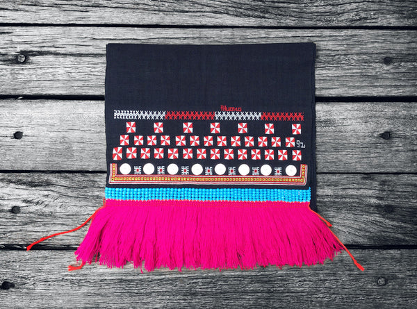 Dao Tien Table / Bed Runner in Indigo (Blue Beading and Pink Fringing)