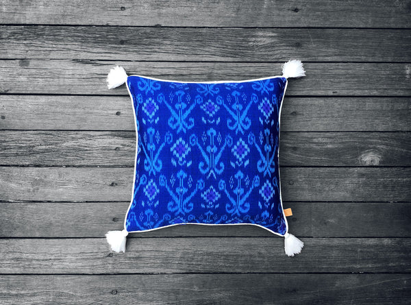 Endek Cushion in Bright Blue