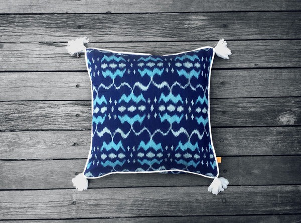 Endek Cushion in Navy Blue