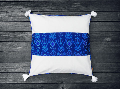 Endek Stripe Cushion in Bright Blue