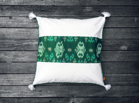 Endek Stripe Cushion in Green
