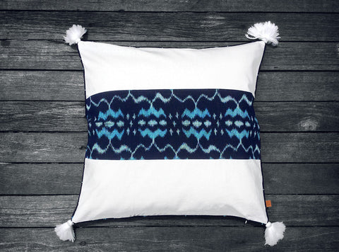 Endek Stripe Cushion in Navy Blue