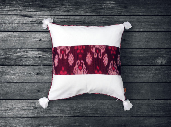 Endek Stripe Cushion in Purple