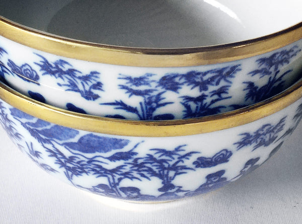 Hanoi Ceramic Bowls (Village) in Blue, White & Brass