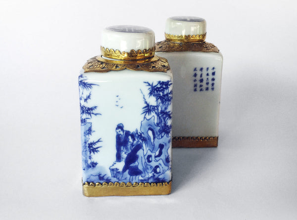 Hanoi Ceramic Decanters in Blue, White & Brass