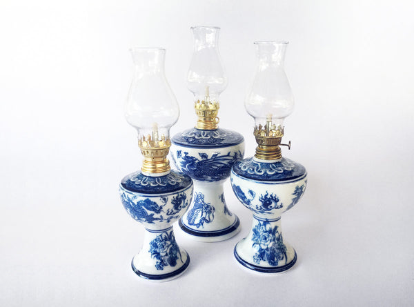 Hanoi Ceramic Oil Lamps in Blue & White