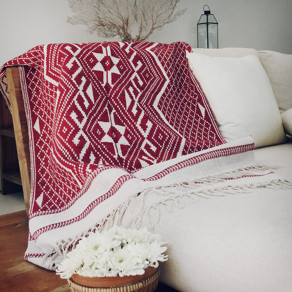 Loa Throw in Natural & Burgundy