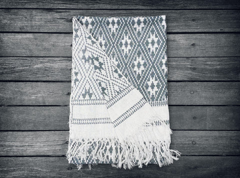 Loa Throw in Natural & Grey