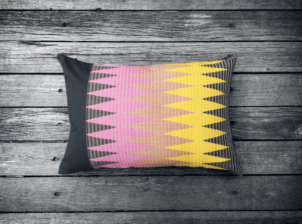 Rangrang Cushion in Yellow, Pink & Dark Grey