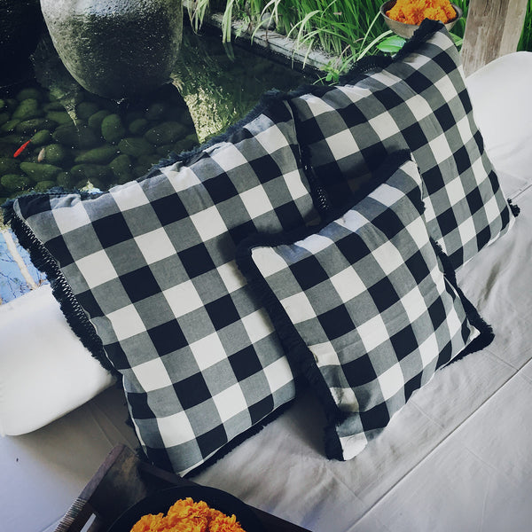 Saput Poleng Cushion in Black & White