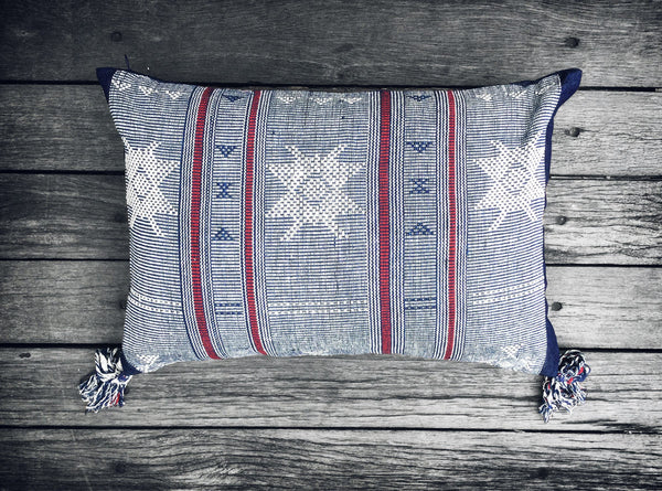 Sumba Ikat Cushion in Blue with Burgundy Stripe