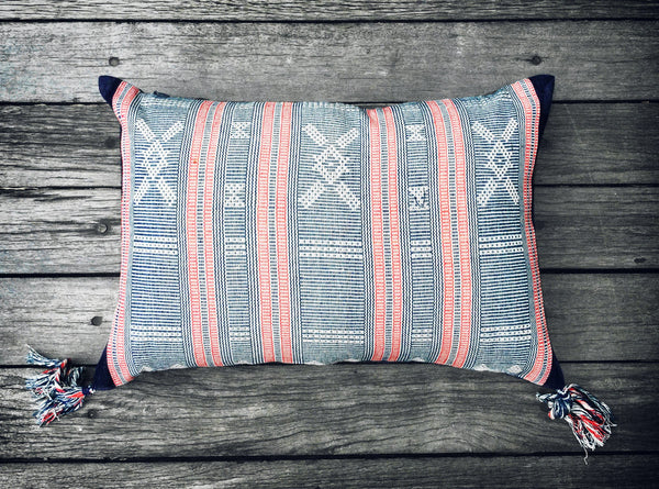 Sumba Ikat Cushion in Blue with Red Stripe