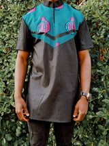 Blue Men African print shirt