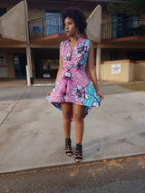 African print high low infinity dress