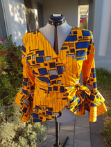 Africanprint wraptop Double peplum
