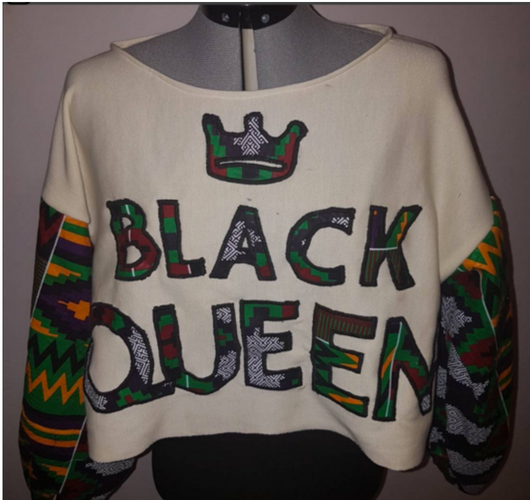 African print Black Queen Customisable crop top jumper