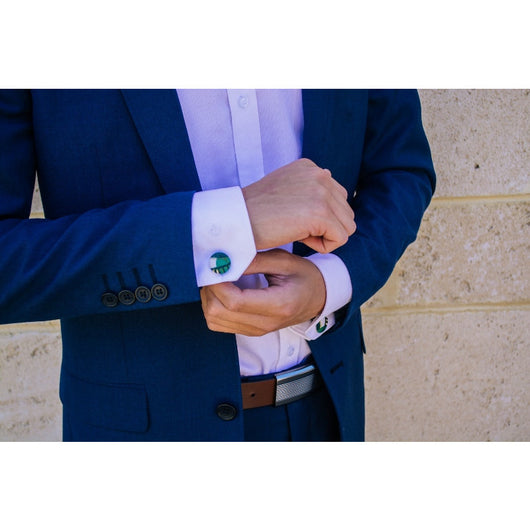 green bridge mosaic cufflinks