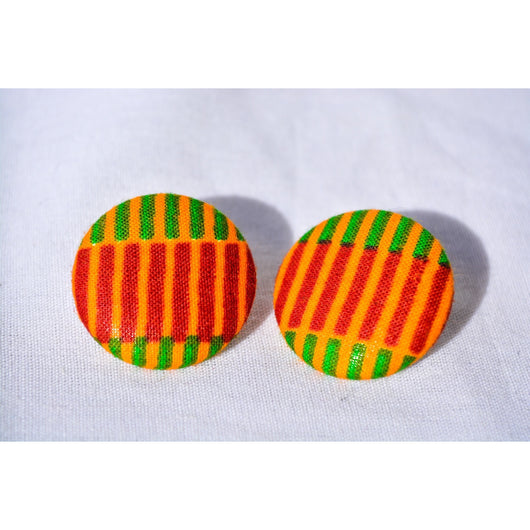 Kente with green African print earrings