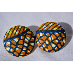 Yellow Stripes and Circles Afroprint Earrings