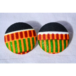 Black and green kente African print earrings