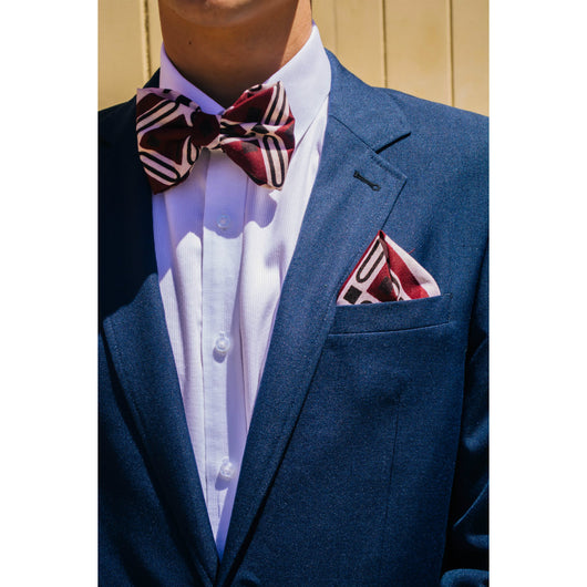 Red hunter African print Bowties and pocketsquare