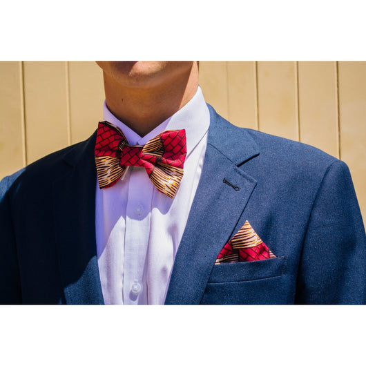 Pink bricks afroprint bowtie and pocketsquare
