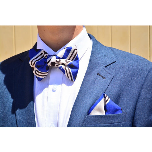 Blue hunter African print bowties and pocketsquare