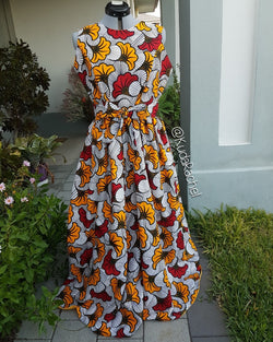 Sleeveless africanprint maxi dress with Pockets