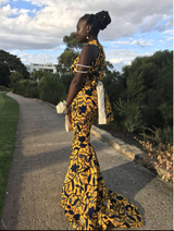Yellow Africanprint infinity ball dress with long train