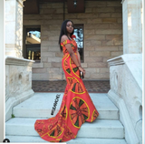 Africanprint prom dress with a long train (Available in different prints)