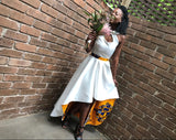 Satin Africanprint Wedding dress/ Uncoventional wedding dress