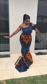 One shoulder Africanprint dress with long train