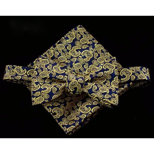 Self tie Golden Swirls Bowtie and Pocket square