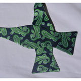Green swirled bowtie and pocketsquare (self-tie)