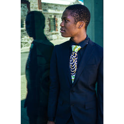 Green/brown African print tie