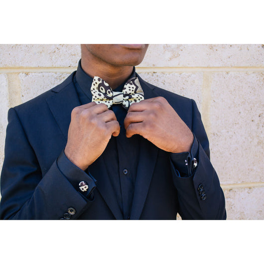 African print bowtie with matching pocketsquares