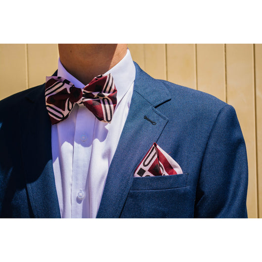Maroon bowtie and matching pocketsquare (free shipping)