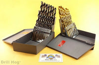 Drill Hog® 44 Pc Left Hand Drill Bit Set Left Hand Drills Reverse Twist Moly M7