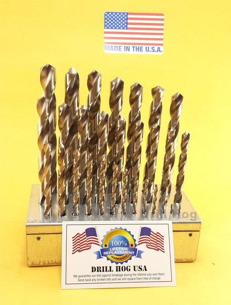 "29 Pc Drill Bit Set 1/16""-1/2"" Niobium Drill Index Lifetime Warranty MADE IN USA"