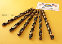 "Drill Hog USA 3/8"" Drill Bit HI-Molybdenum Round Shank Lifetime Warranty 6 Pack"