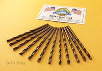 "Drill Hog USA 7/32"" Drill Bit 7/32 Molybdenum M7 Lifetime Warranty 12 Pack"