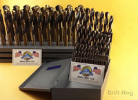 "62 Pc Silver & Deming Drill Bit Set 1/16"" to 1"" Drill Hog USA Lifetime Warranty"