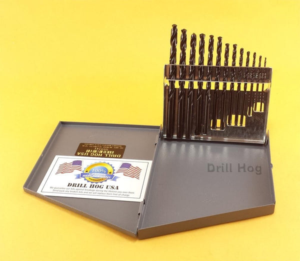 "Drill Hog 13 Pc Pig Steel Drill Bits Set 1/16-1/4"" Lifetime Warranty MADE IN USA"